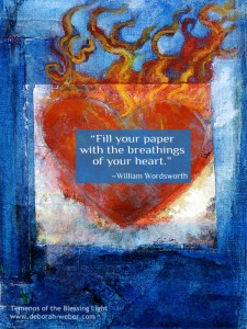 Heart mixed medium painting with flames.